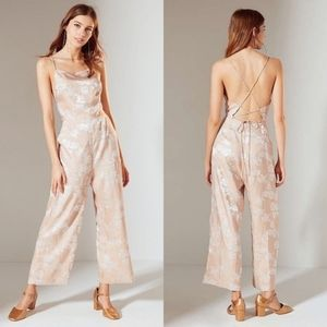 Urban Outfitters Lily Jacquard Laceup Jumpsuit
